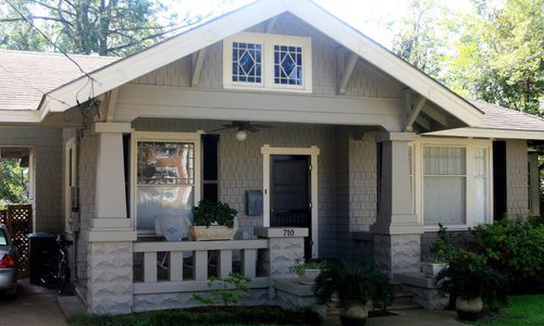 Classic Rock Face Rusticated Concrete Block Porch Craftsman Bungalow