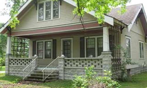 Classic Rock Face Rusticated Concrete Sears Block House Craftsman Bungalow Porch Lattice