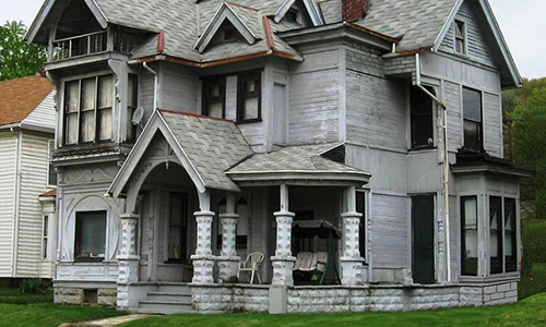 Classic Rock Face Rusticated Concrete Sears Block Victorian Queen Anne Porch Columns Foundation