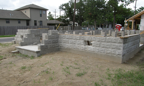 Classic Rock Face Rusticated Concrete Sears Block Foundatio Bungalow Matherne