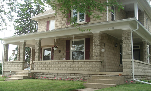 Classic Rock Face Rusticated Concrete Sears Block House Porch Multi Design Winona Lake