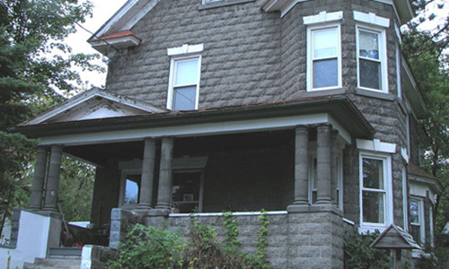 Classic Rock Face Rusticated Concrete Sears Block Victorian Queen Anne House Porch Columns