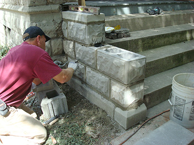 Classic-Rock-Face-Rusticated-Concrete-Sears-Block-Porch-Foundation-Stairs-Repair-Stout-Installation